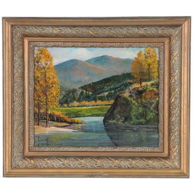 "William S. Green Landscape Oil Painting ""Bend in the Stream"""