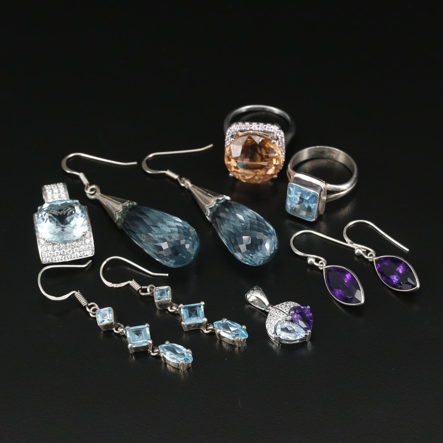 Sterling Silver Jewelry Including Topaz, Amethyst and Synthetic Quartz