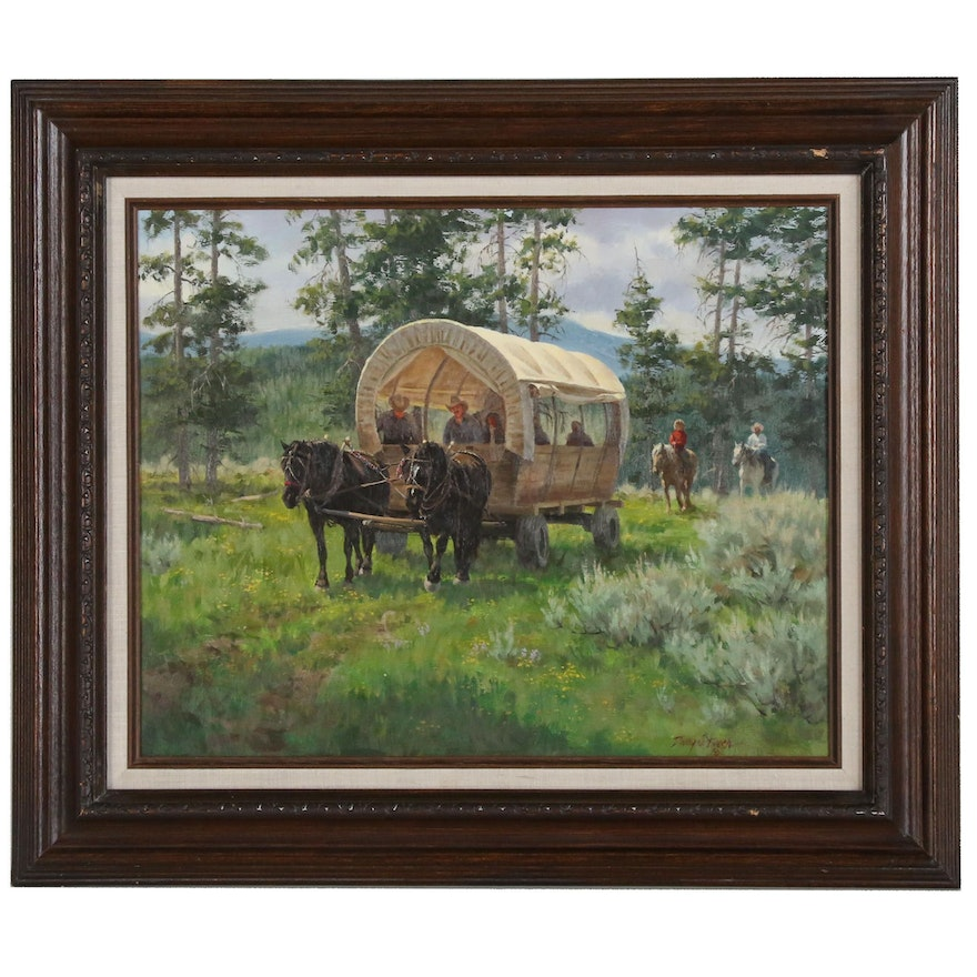 Dwayne Brech Western Genre Oil Painting of Covered Wagon