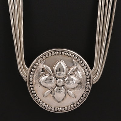 Sterling Silver Floral Stationary Pendant With Multi-Strand Necklace