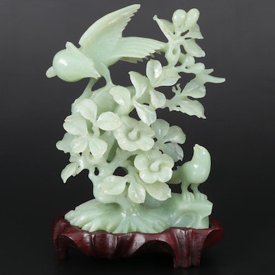 Chinese Bowenite Bird and Hibiscus Flower Carving