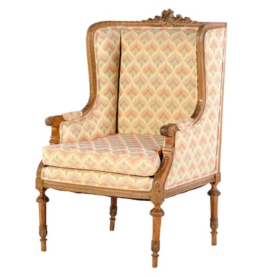 Louis XVI Style Beech Upholstered Wingback Arm Chair, Early to Mid 20th Century