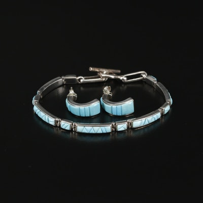 Sterling Silver Turquoise Earrings and Bracelet