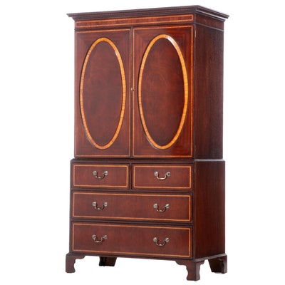 George III Style Mahogany Linen Press, Late 20th Century