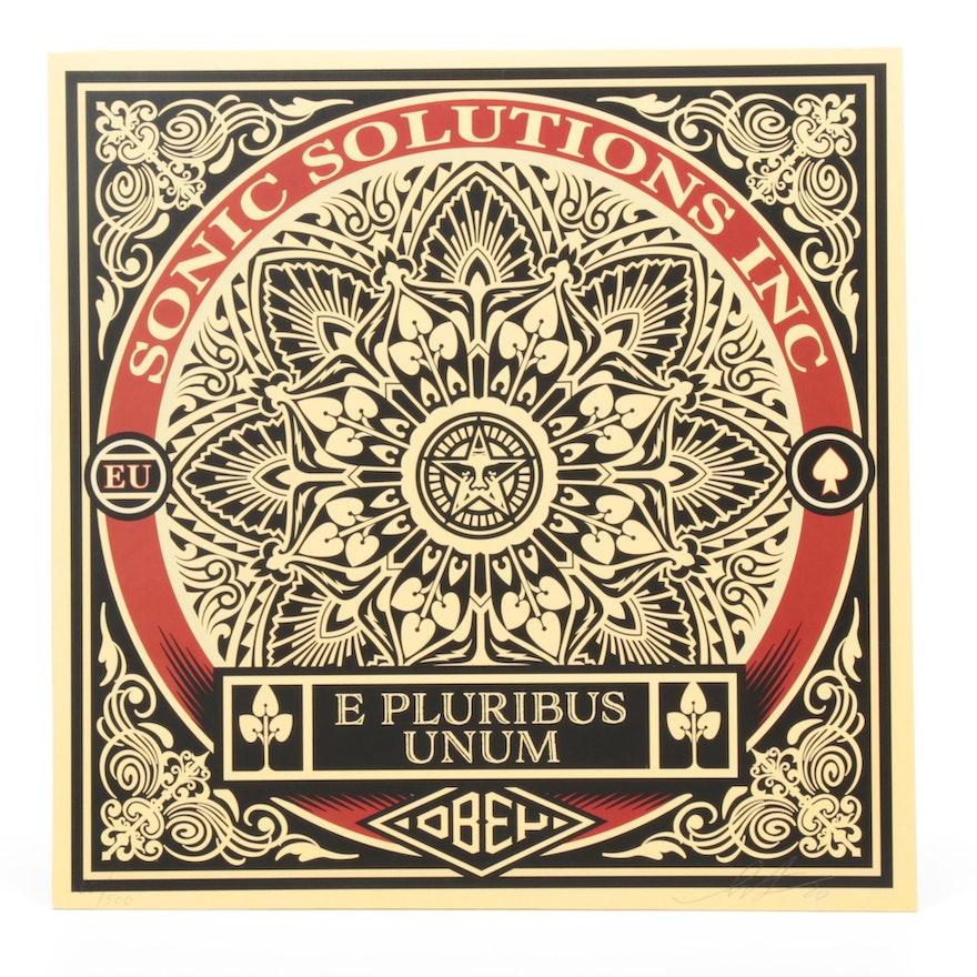 """Shepard Fairey x SSI """"E Pluribus Unum"""" Vinyl Album and Signed Cover, 2019"""
