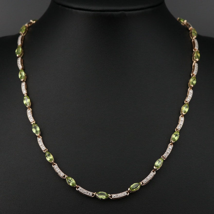 Sterling Silver Peridot and Diamond Necklace