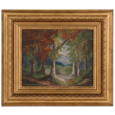 H.H. Tallman Landscape Oil Painting of Autumn Forest Scene