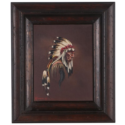 J. Musick Oil Painting of Native American Chief, 1978