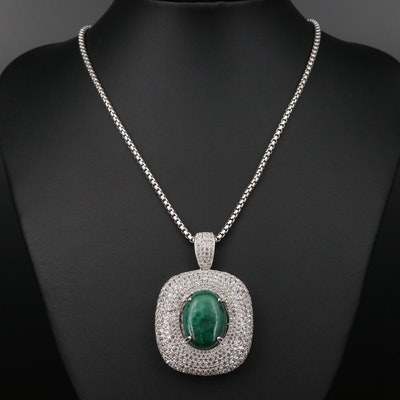 Sterling Silver Malachite and Sapphire Necklace