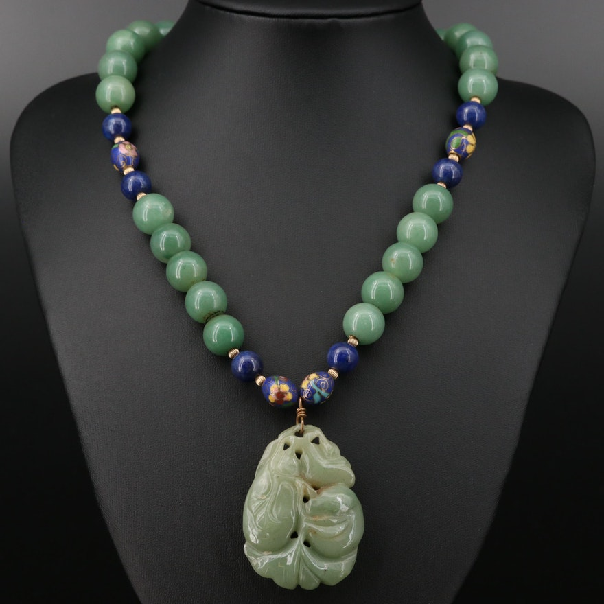 Sterling Silver Aventurine and Cloisonné Enamel Necklace
