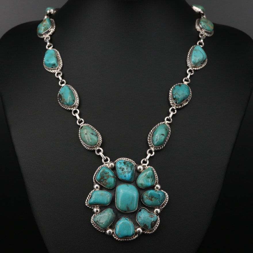 Soutwestern Style Sterling Silver Turquoise Necklace