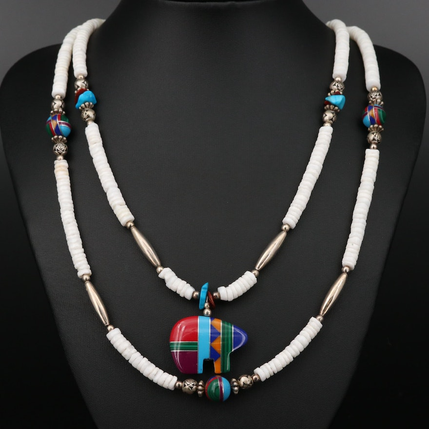 Southwestern Style Red Jasper, Magnesite and Shell Inlay Bear Beaded Necklace