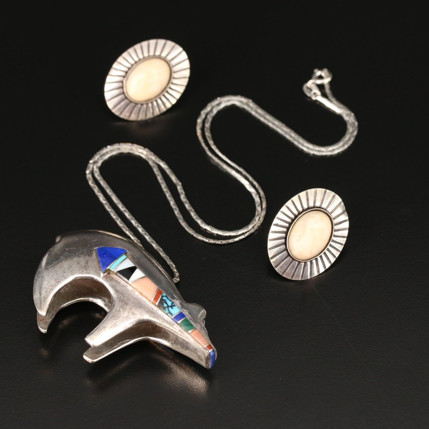 Southwestern Sterling Silver Gemstone Spirit Bear Necklace with Earrings
