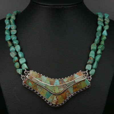Southwestern Style Sterling Silver Turquoise Beaded Necklace