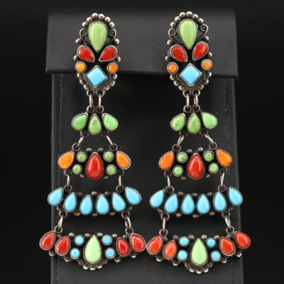 Leo Feeney Southwestern Style Sterling Silver Spiny Oyster and Gemstone Earrings