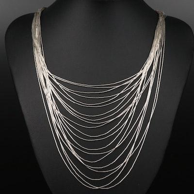 Sterling Silver Multi-Strand Graduated Liquid Silver Necklace