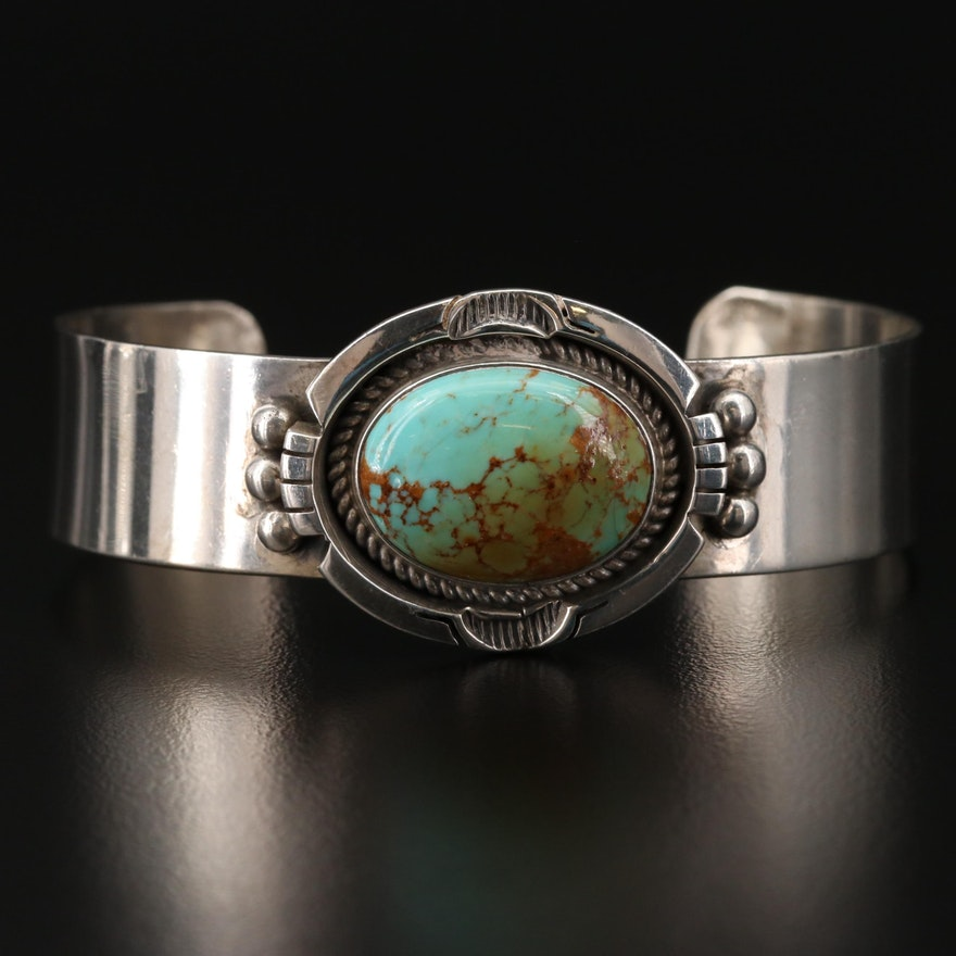 Randy Hoskie Navajo Diné Sterling Silver Turquoise Cuff