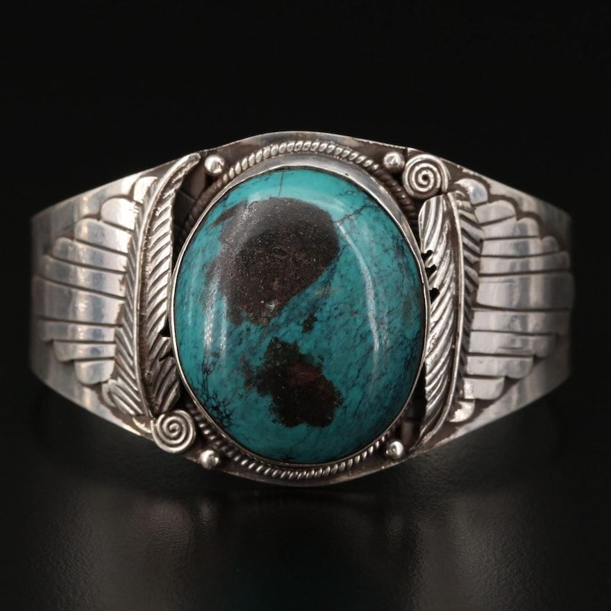 Southwestern Style Sterling Silver Turquoise Cuff