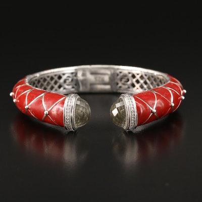 Zasha Sterling Silver Enamel and Glass Hinged Cuff Bracelet