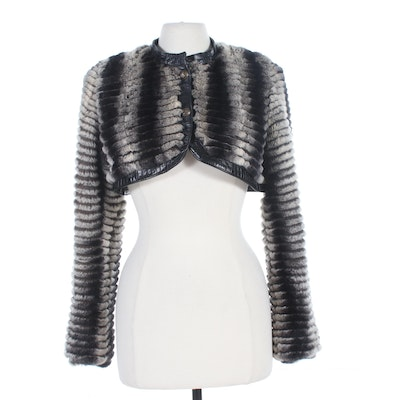 Corded Chinchilla Fur Bolero Jacket with Leather Trim by Dereon