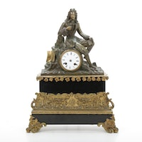 Neoclassical Style Brass and Granite Mantle Clock
