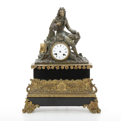 French Neoclassical Brass and Black Granite Mantel Clock, 19th Century