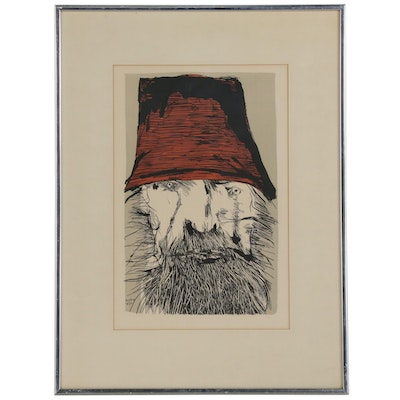 "Leonard Baskin Portrait Lithograph ""Ahab with a Hat"""