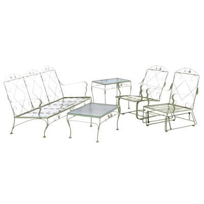 Five-Piece Green-Painted Metal Foliate Motif Patio Set