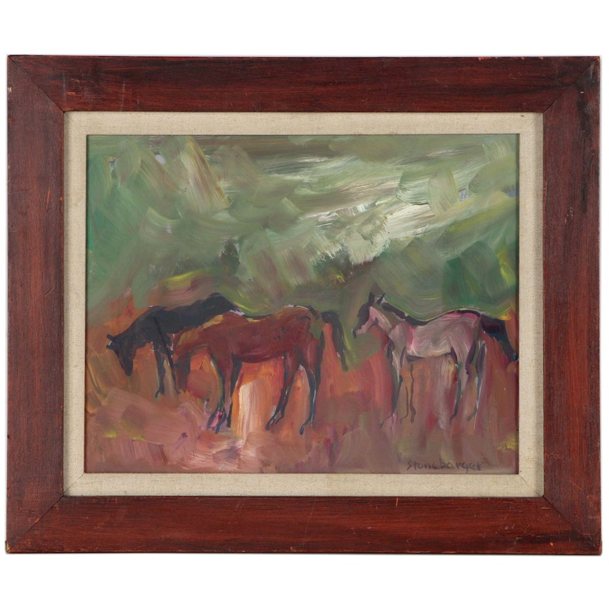 Virginia Stonebarger Oil Painting of Horses