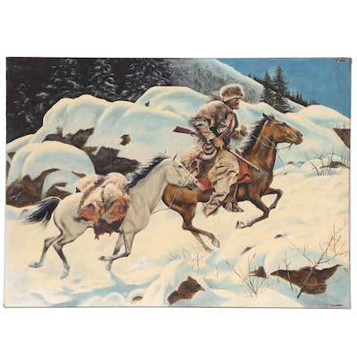 "Western Genre Oil Painting After Frank McCarthy ""Winter Trail"", 20th Century"