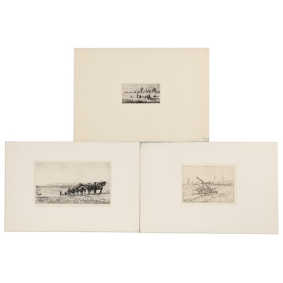 Etchings of Pastoral Scenes