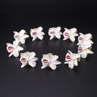 Pia RPA Orchid China Napkin Ring Set, Late 20th Century