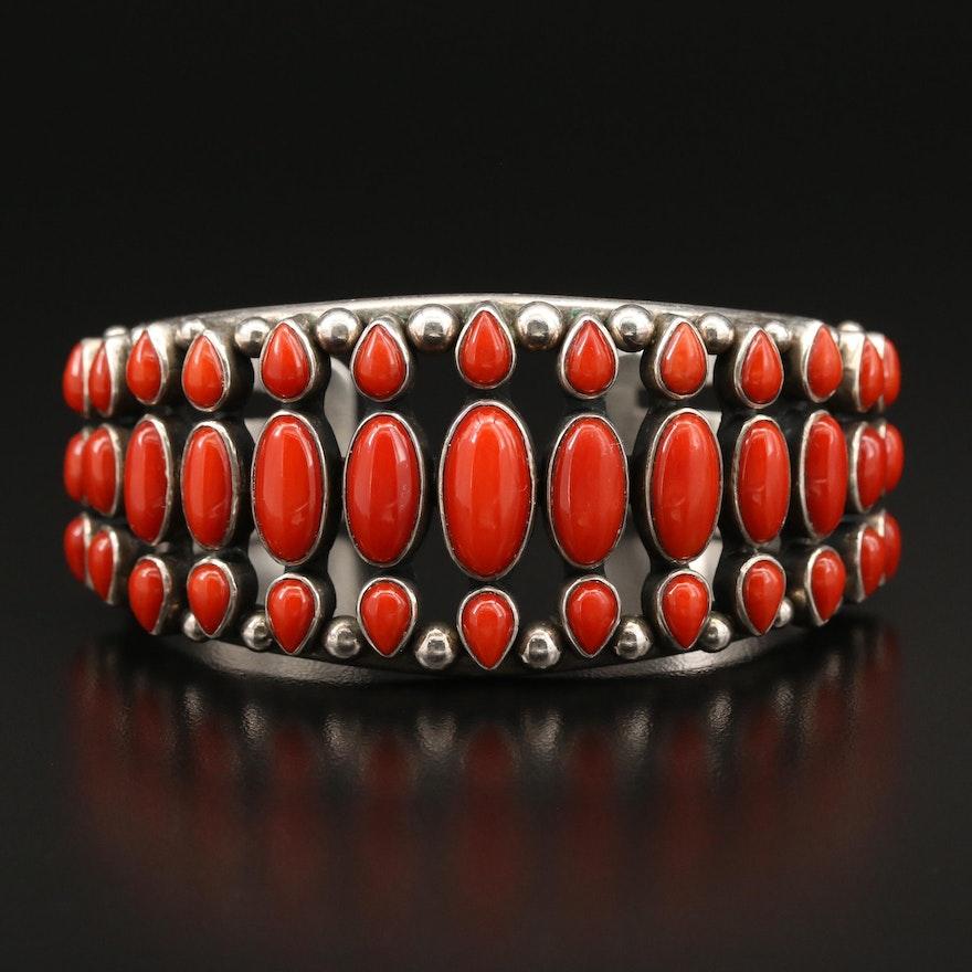 Southwestern Sterling Silver Coral Cuff Bracelet