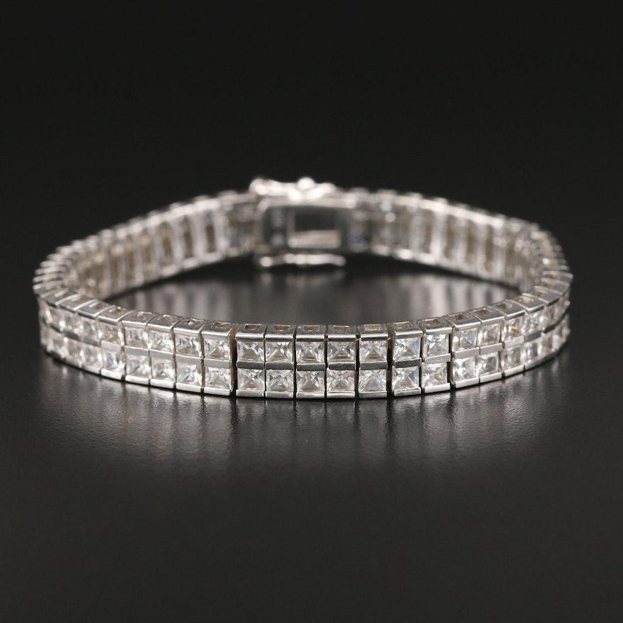 Silpada Sterling Silver Double Row Cubic Zirconia Line Bracelet