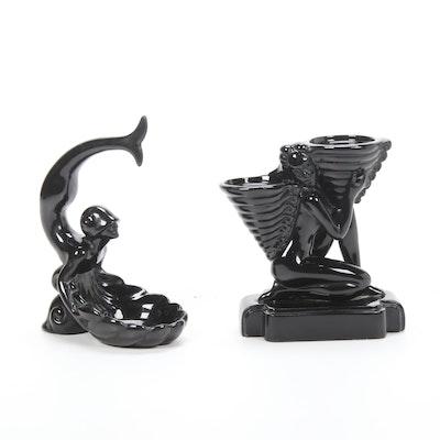 Art Deco Style Ebony Black Ceramic Figural Candelabra and Dish