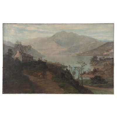 Landscape Oil Painting of Lake with Cottage, Late 19th Century