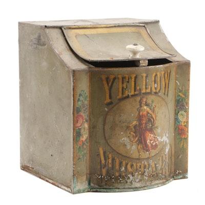 General Store Yellow Mustard Seed Tin Countertop Bin, Early 20th Century