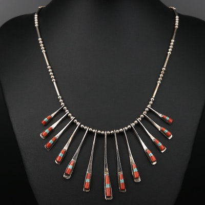 Sterling Silver Spiny Oyster and Turquoise Fringe Necklace