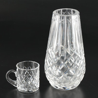 "Waterford ""Lismore"" Crystal Vase and Cup"