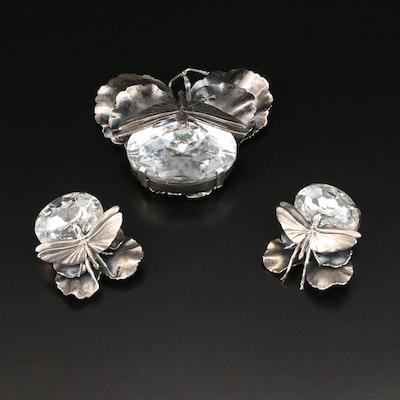 Ermani Bulatti Rhinestone Dragonfly Brooch and Clip-On Earring Set