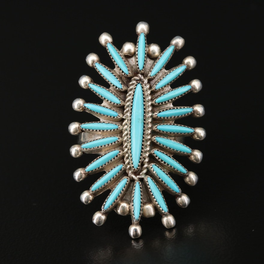 Lance and Cordelia Waatsu Zuni Sterling Silver Turquoise Ring