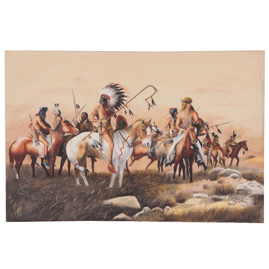 Western Genre Oil Painting After Frank McCarthy