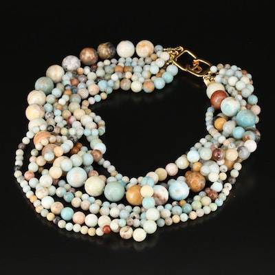 Kenneth Jay Lane Beaded Agate and Jasper Multi-Strand Necklace