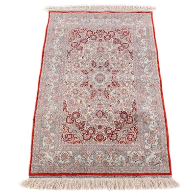2'6 x 4'3 Hand-Knotted Signed Persian Isfahan Silk Rug