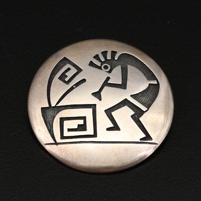 Jay Humeyestewa Hopi Sterling Silver Brooch Featuring Kokopelli Motif