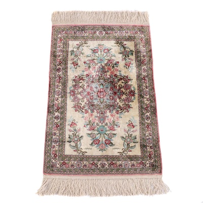 2'1 x 3'9 Hand-Knotted Indo-Persian Silk and Wool Rug