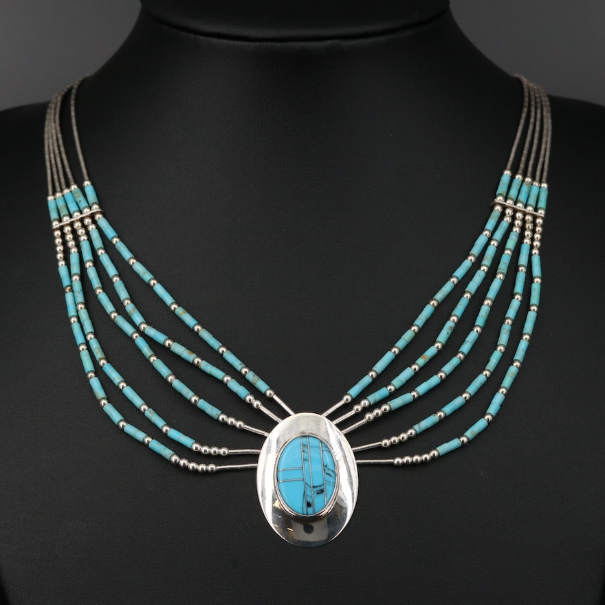 Edith James Navajo Diné Sterling Turquoise Necklace