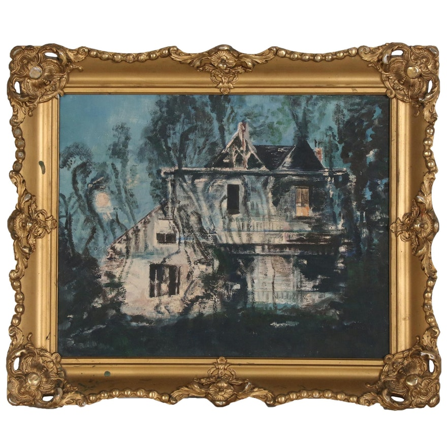 Oil Painting of Victorian Style House, Late 20th Century