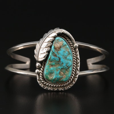 Southwestern Sterling Silver Turquoise Cuff with Applique