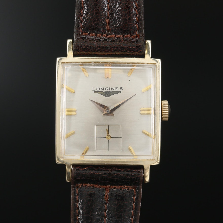 Longines 14K Gold Stem Wind Wristwatch, Vintage